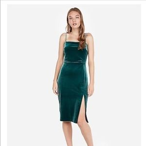 Velvet Front Slit Sheath Dress